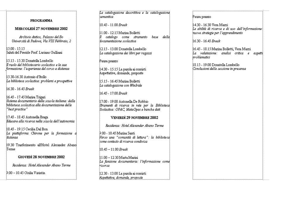 Partecipazione alle sessioni in presenza sessione introduttiva: lezioni, seminari e laboratori dalle 25 alle 30 ore 27-28-29 novembre 2002 (27 ore) se