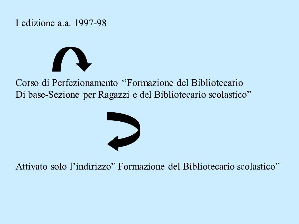 La proposta formativa patavina per il bibliotecario scolastico a.a. 2002-03 È giunta alla sua VI edizione