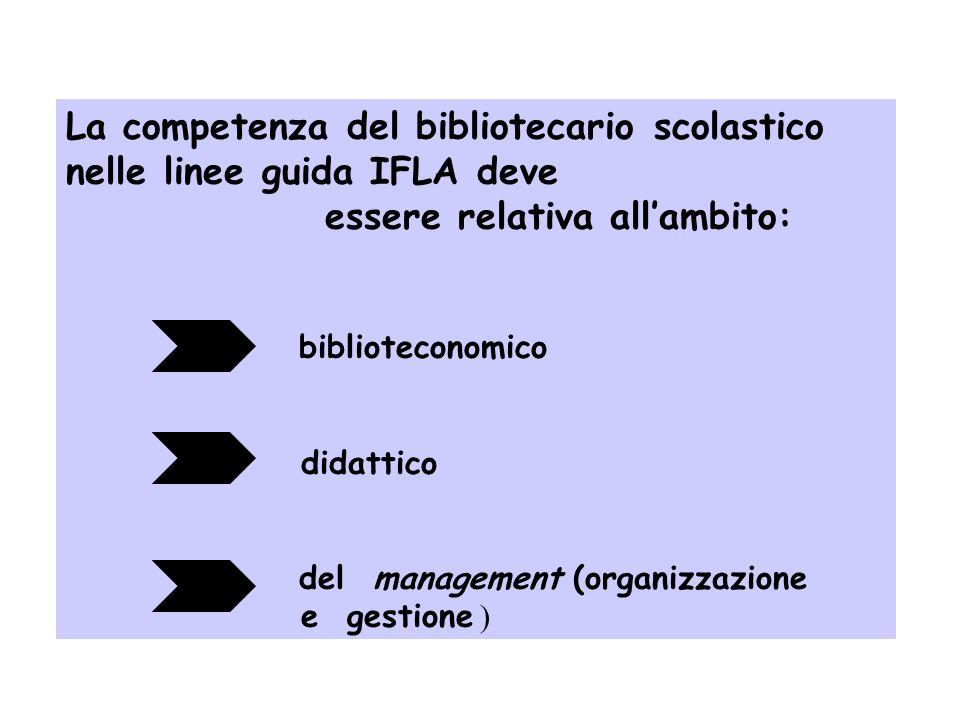 La formazione del Bibliotecario Scolastico nel dibattito educativo-biblioteconomico mondiale si ispira a criteri di alta qualità mira al livello cultu