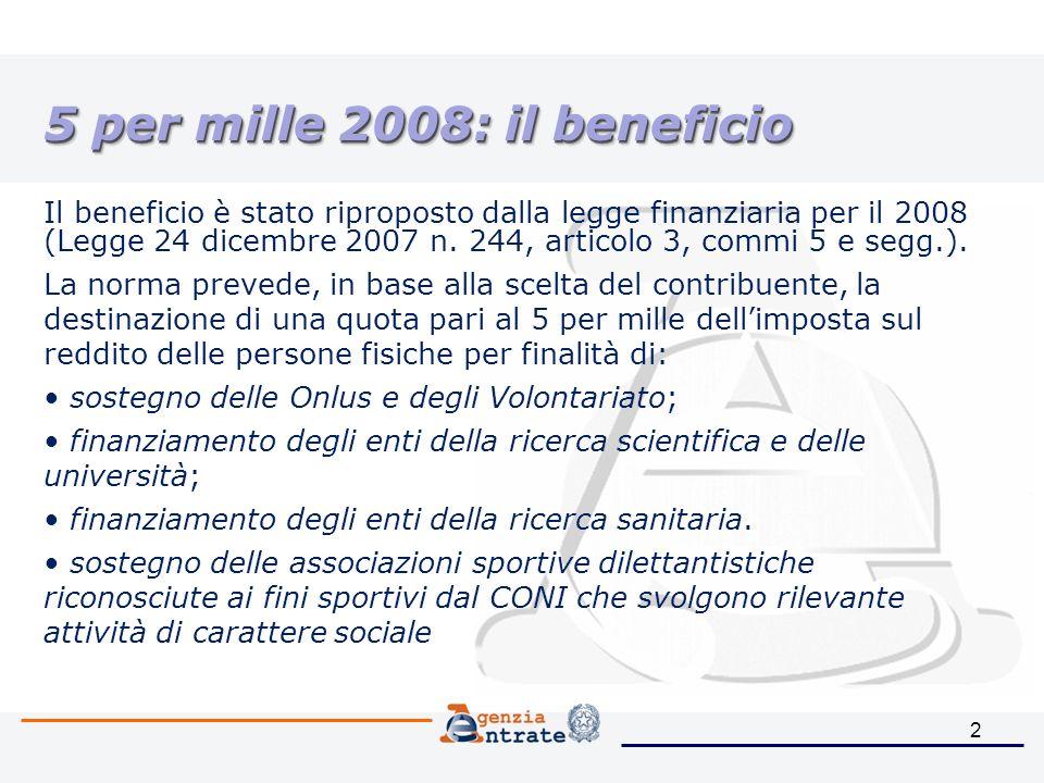 2 5 per mille 2008: il beneficio Il beneficio è stato riproposto dalla legge finanziaria per il 2008 (Legge 24 dicembre 2007 n.