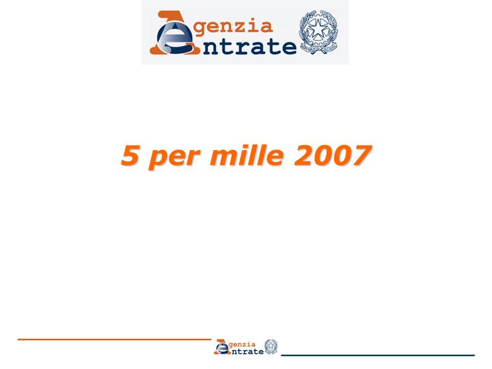 2 5 per mille 2007: il beneficio Il beneficio è stato riproposto dalla legge finanziaria per il 2006 (Legge 27 dicembre 2006 n.