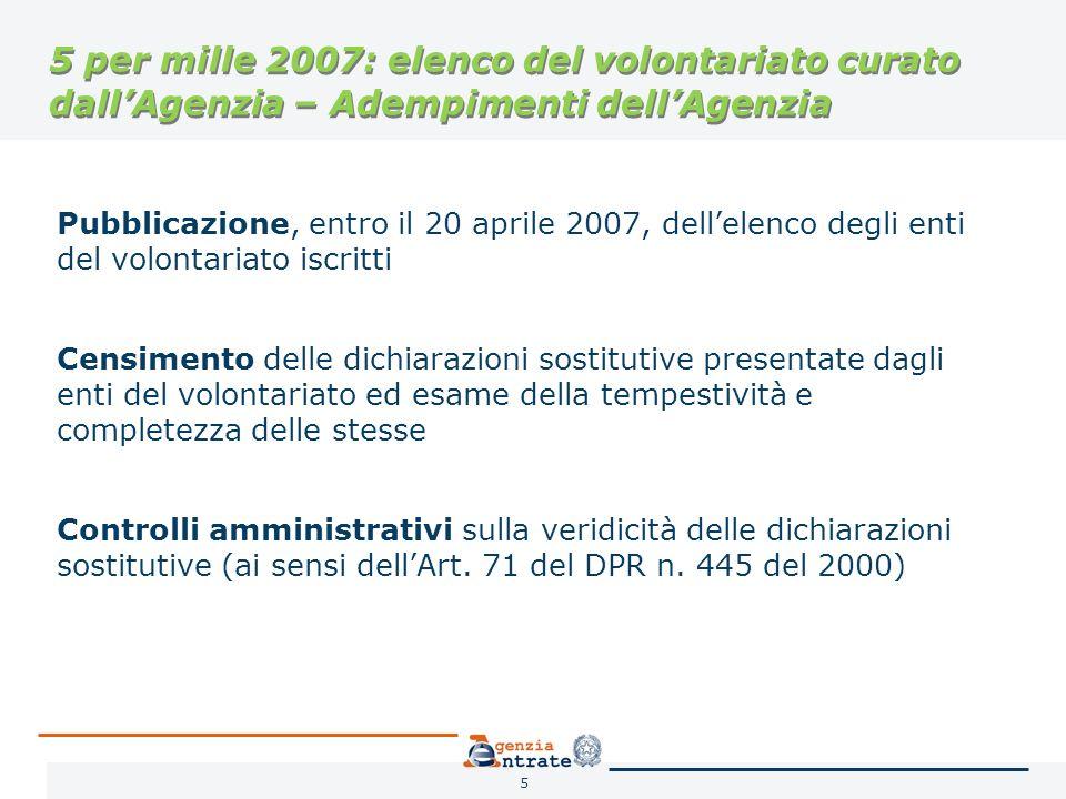 6 5 per mille 2007: adempimenti dellAgenzia Pubblicazione, entro il 20 aprile 2007, degli elenchi degli enti della ricerca e delluniversità e degli enti della salute Individuazione, delle scelte espresse dai contribuenti nelle dichiarazioni dei redditi (Mod.