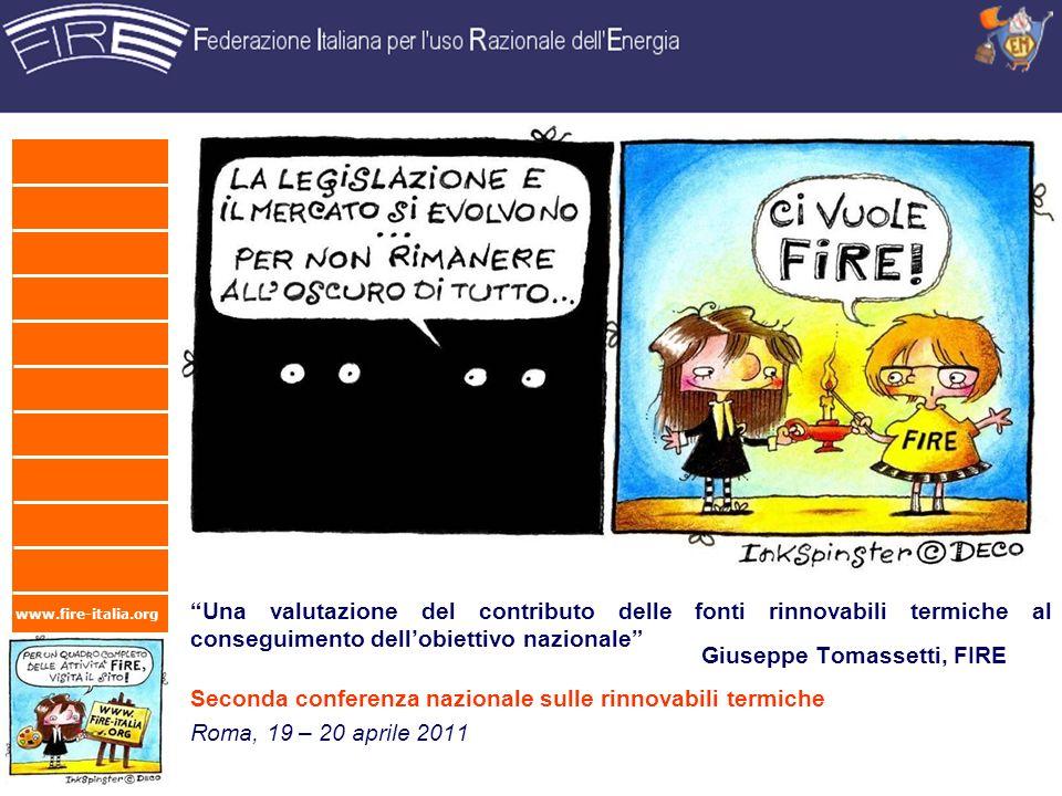 www.fire-italia.org Una valutazione del contributo delle fonti rinnovabili termiche al conseguimento dellobiettivo nazionale Roma, 19 – 20 aprile 2011