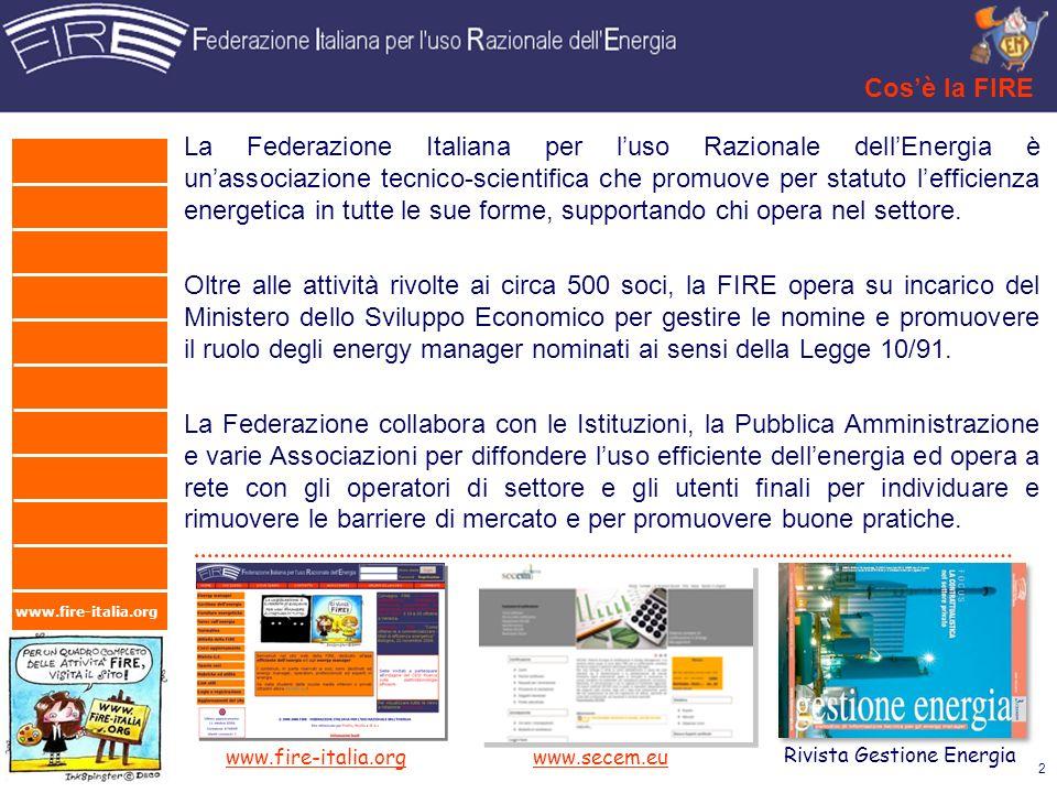 www.fire-italia.org Cosè la FIRE La Federazione Italiana per luso Razionale dellEnergia è unassociazione tecnico-scientifica che promuove per statuto