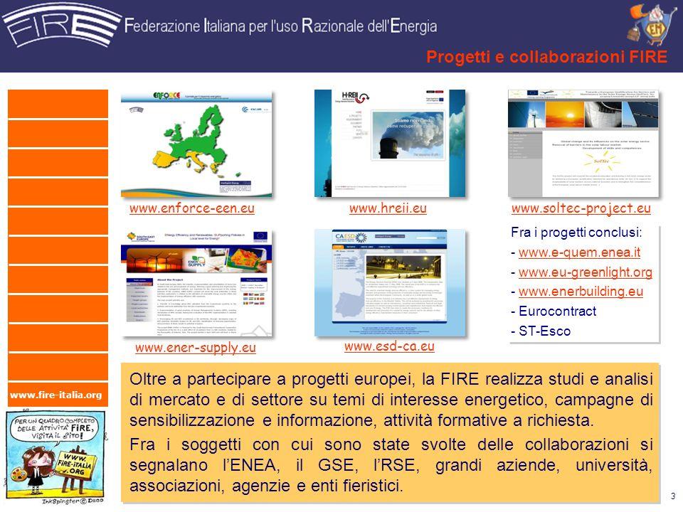 www.fire-italia.org Progetti e collaborazioni FIRE 3 www.hreii.euwww.enforce-een.eu www.ener-supply.eu www.soltec-project.eu www.esd-ca.eu Oltre a par