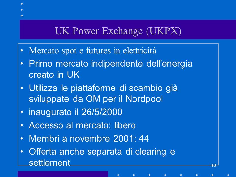 10 UK Power Exchange (UKPX) Mercato spot e futures in elettricità Primo mercato indipendente dellenergia creato in UK Utilizza le piattaforme di scamb