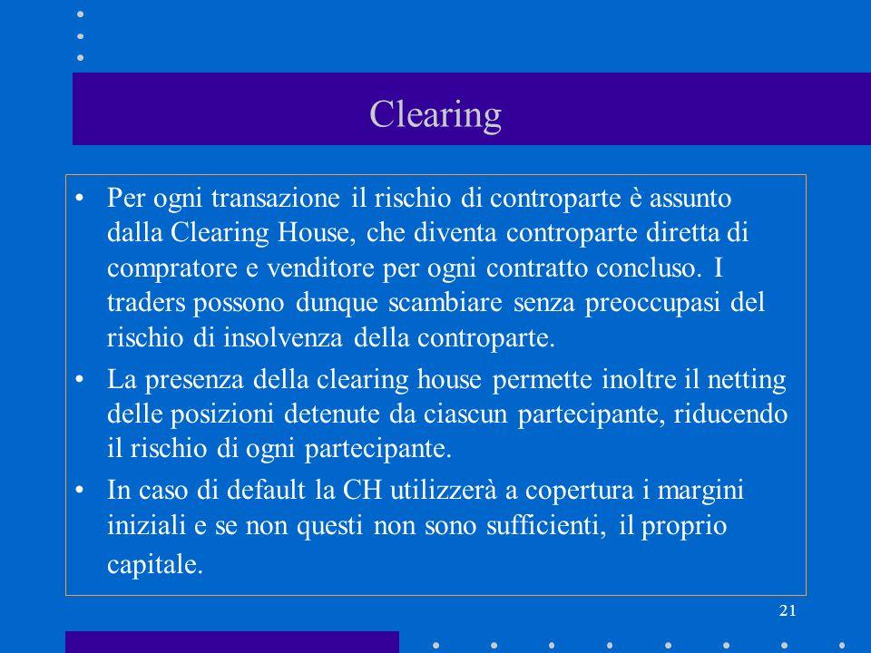 21 Clearing Per ogni transazione il rischio di controparte è assunto dalla Clearing House, che diventa controparte diretta di compratore e venditore p