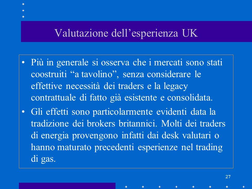 27 Valutazione dellesperienza UK Più in generale si osserva che i mercati sono stati coostruiti a tavolino, senza considerare le effettive necessità d