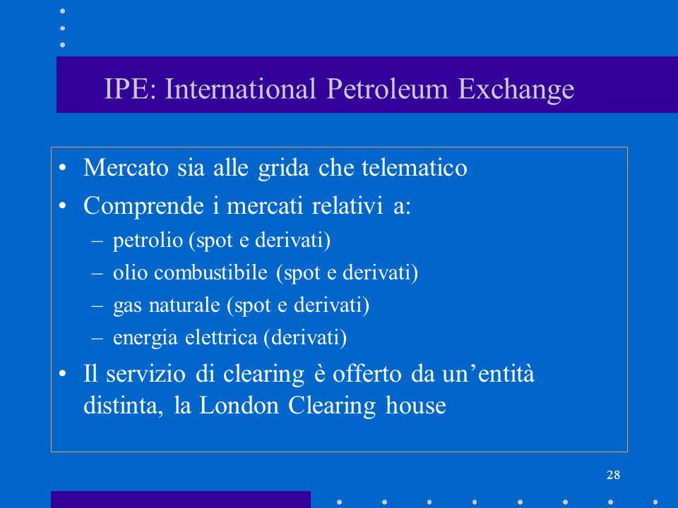 28 IPE: International Petroleum Exchange Mercato sia alle grida che telematico Comprende i mercati relativi a: –petrolio (spot e derivati) –olio combu