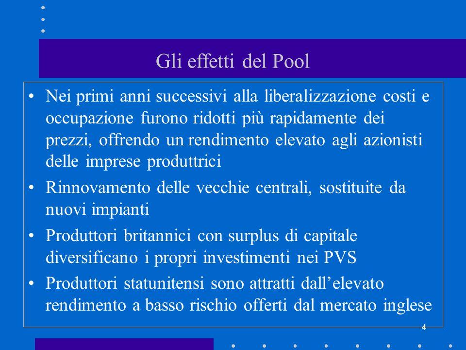 4 Gli effetti del Pool Nei primi anni successivi alla liberalizzazione costi e occupazione furono ridotti più rapidamente dei prezzi, offrendo un rend