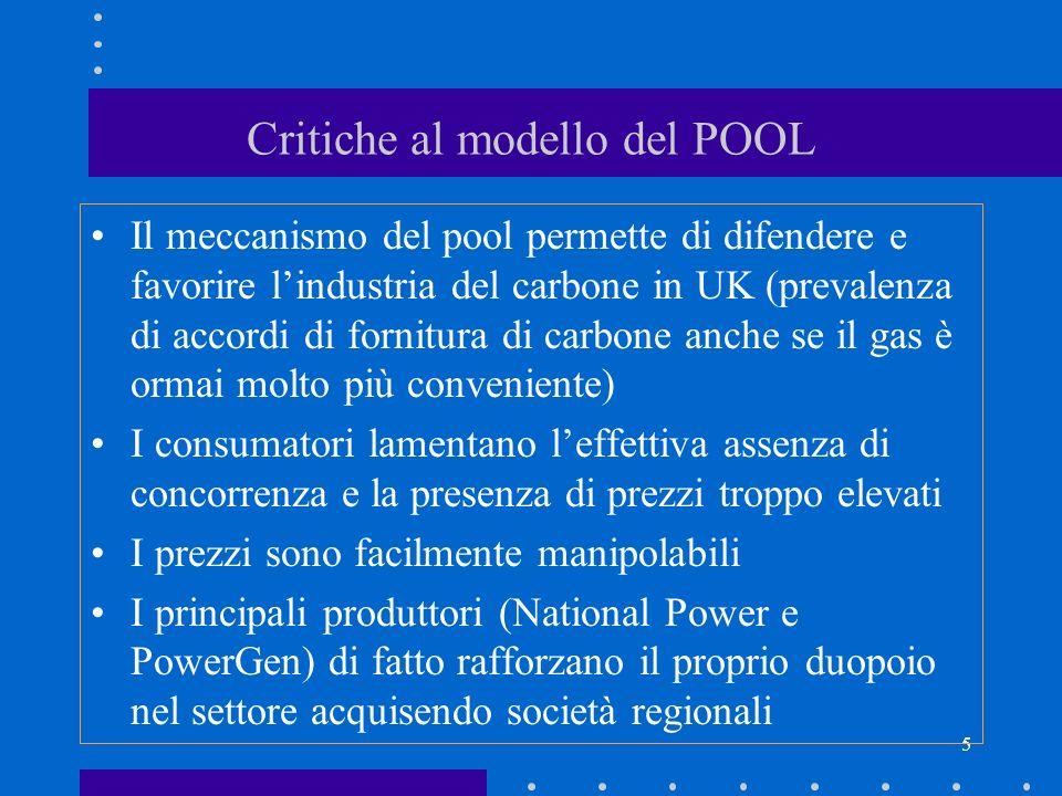 5 Critiche al modello del POOL Il meccanismo del pool permette di difendere e favorire lindustria del carbone in UK (prevalenza di accordi di fornitur