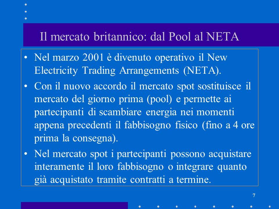 7 Il mercato britannico: dal Pool al NETA Nel marzo 2001 è divenuto operativo il New Electricity Trading Arrangements (NETA). Con il nuovo accordo il