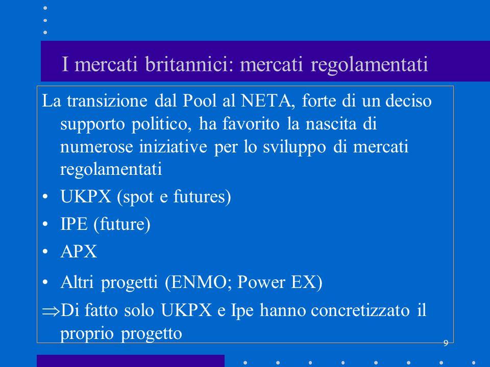 9 I mercati britannici: mercati regolamentati La transizione dal Pool al NETA, forte di un deciso supporto politico, ha favorito la nascita di numeros
