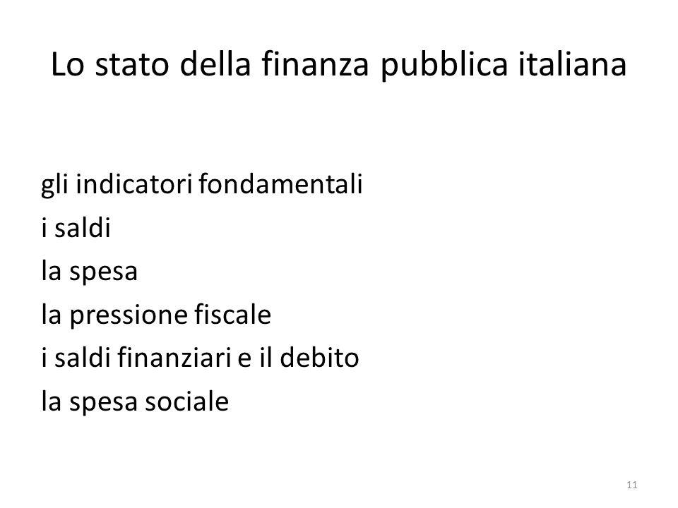 Lo stato della finanza pubblica italiana gli indicatori fondamentali i saldi la spesa la pressione fiscale i saldi finanziari e il debito la spesa soc