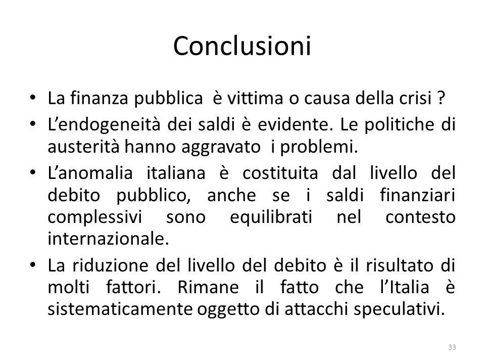 Conclusioni La finanza pubblica è vittima o causa della crisi ? Lendogeneità dei saldi è evidente. Le politiche di austerità hanno aggravato i problem