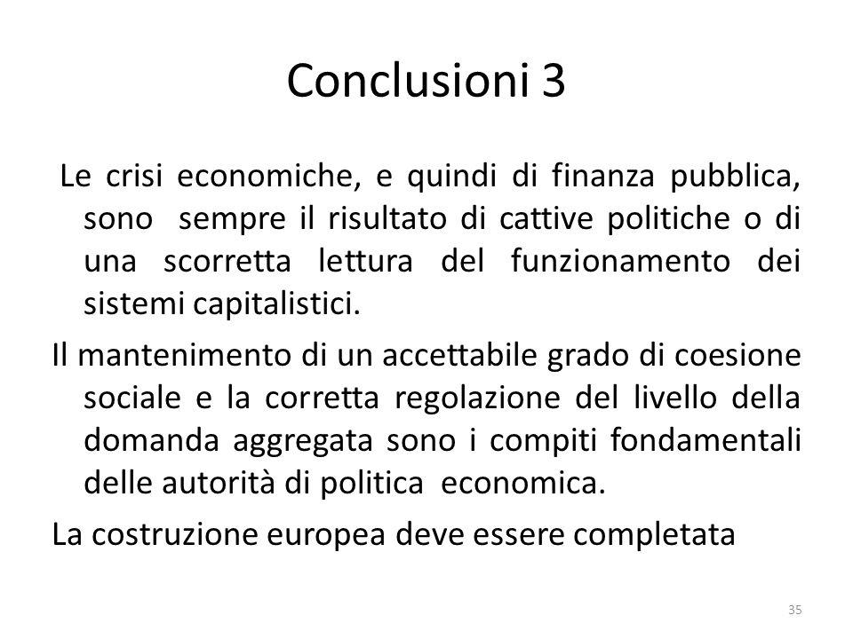 Conclusioni 3 Le crisi economiche, e quindi di finanza pubblica, sono sempre il risultato di cattive politiche o di una scorretta lettura del funziona
