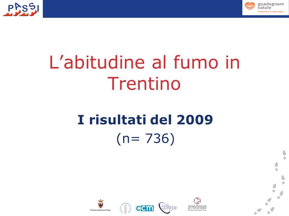 Labitudine al fumo in Trentino I risultati del 2009 (n= 736)