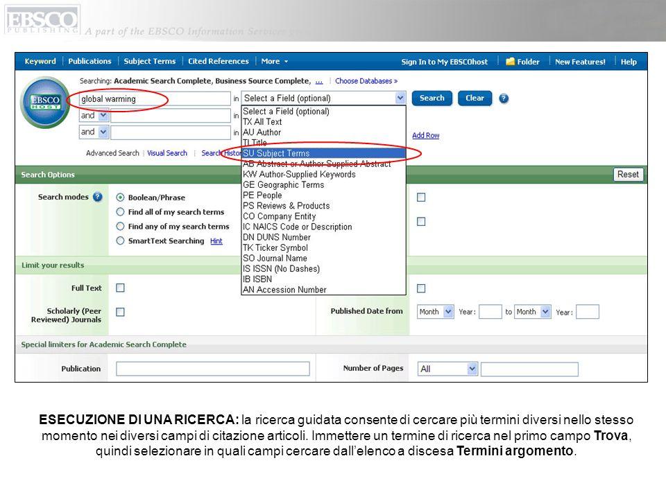 È possibile eseguire una ricerca allinterno delle PUBBLICAZIONI direttamente utilizzando il pulsante corrispondente situato nella barra degli strumenti superiore.