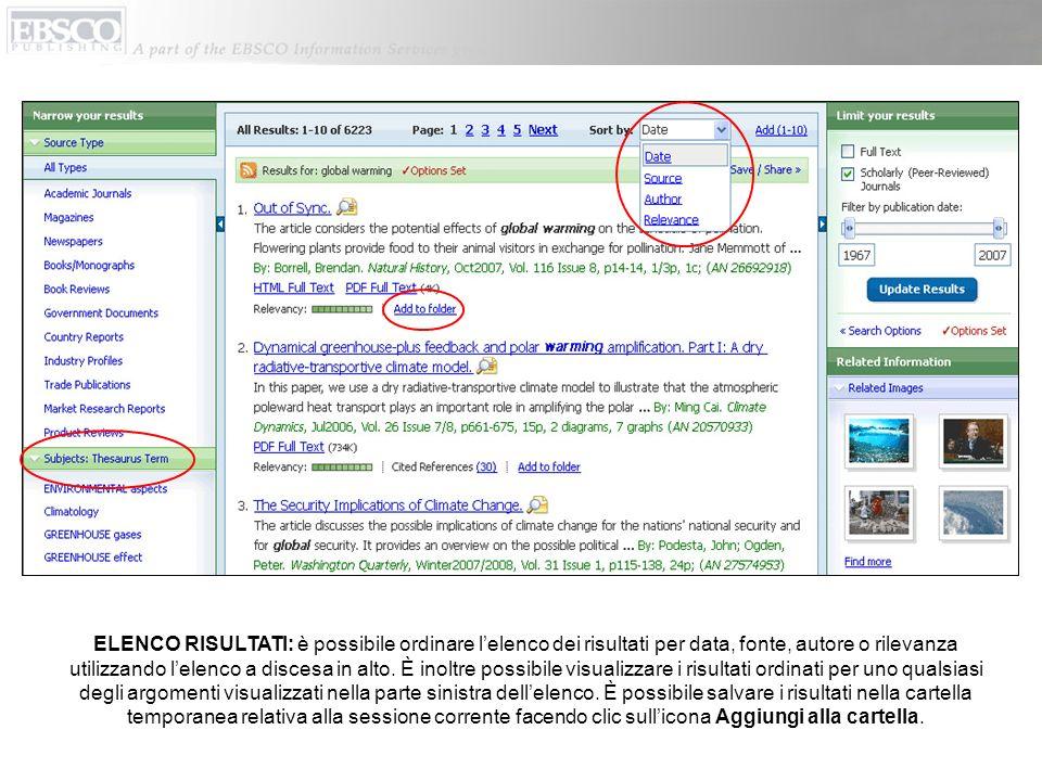 Per salvare nella cartella personalizzata un link alla ricerca, fare clic su Avvisa/Salva/Condividi.