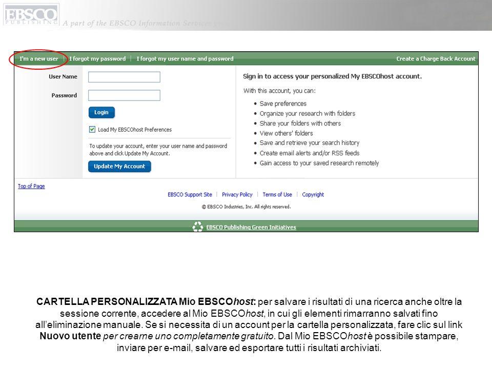 EBSCOhost restituisce una serie di pubblicazioni che iniziano con la parola Time che sono presenti nel database corrente.
