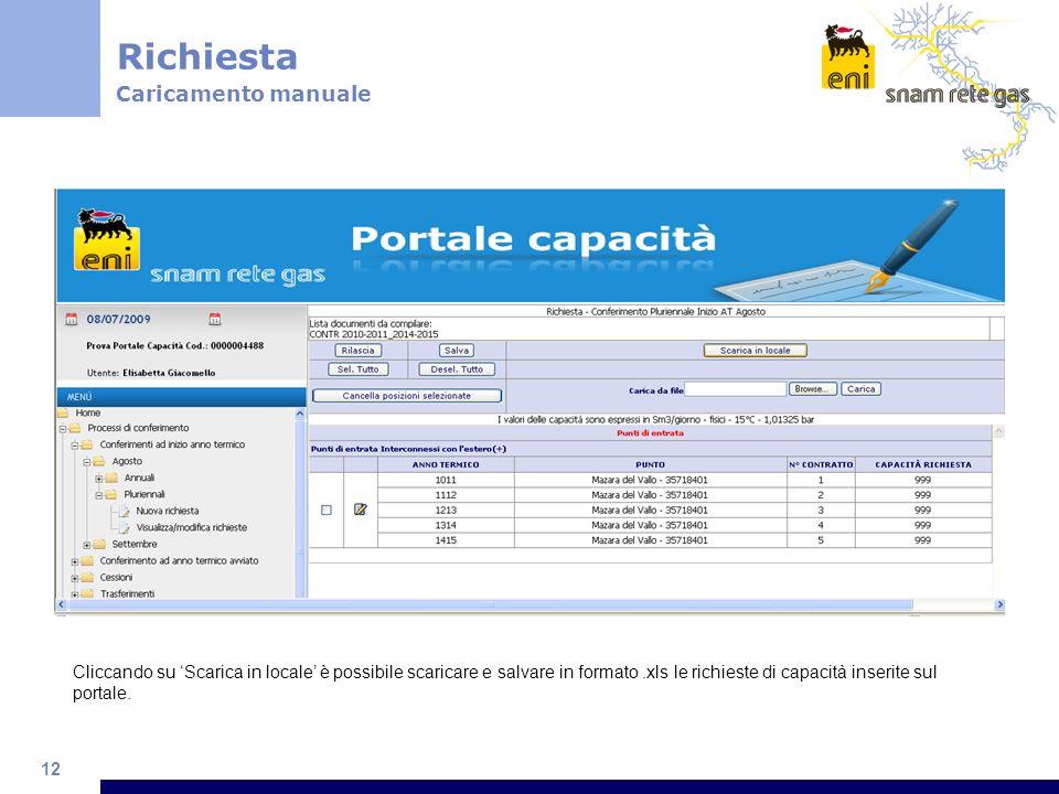 12 Cliccando su Scarica in locale è possibile scaricare e salvare in formato.xls le richieste di capacità inserite sul portale. Richiesta Caricamento