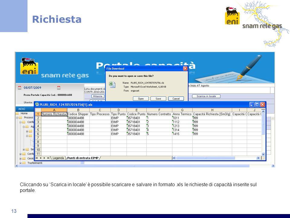 13 Richiesta Cliccando su Scarica in locale è possibile scaricare e salvare in formato.xls le richieste di capacità inserite sul portale.