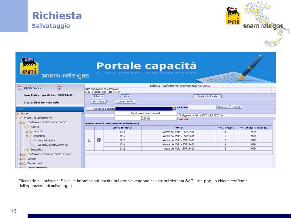 15 Cliccando sul pulsante Salva le informazioni inserite sul portale vengono salvate sul sistema SAP. Una pop-up chiede conferma delloperazione di sal