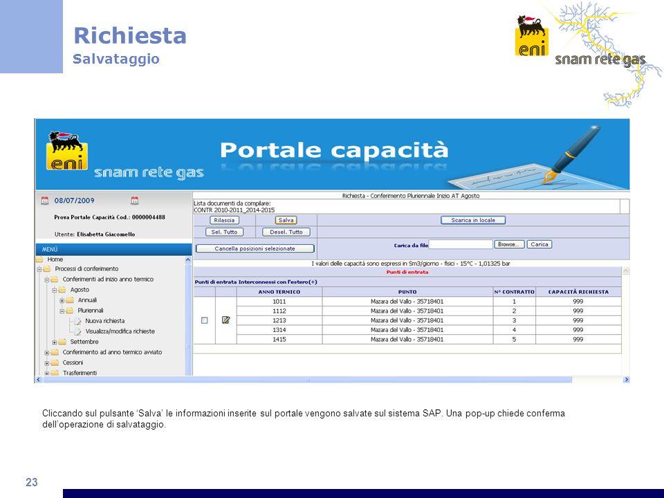 23 Richiesta Salvataggio Cliccando sul pulsante Salva le informazioni inserite sul portale vengono salvate sul sistema SAP. Una pop-up chiede conferma