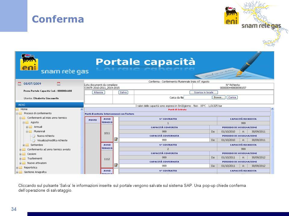 34 Cliccando sul pulsante Salva le informazioni inserite sul portale vengono salvate sul sistema SAP. Una pop-up chiede conferma delloperazione di sal