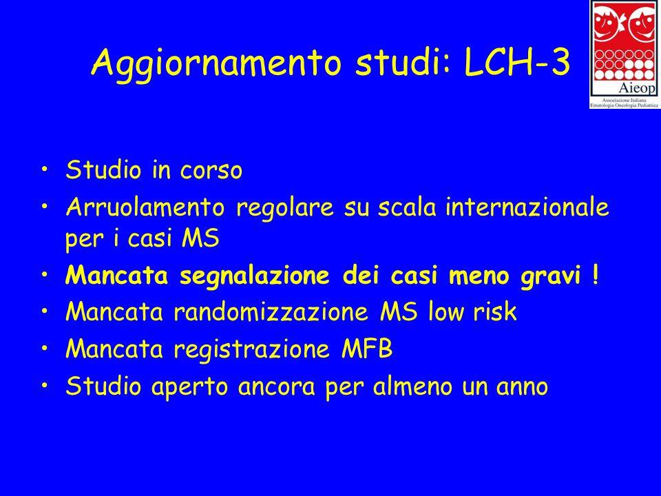 Aggiornamento studi: LCH-3 Studio in corso Arruolamento regolare su scala internazionale per i casi MS Mancata segnalazione dei casi meno gravi ! Manc