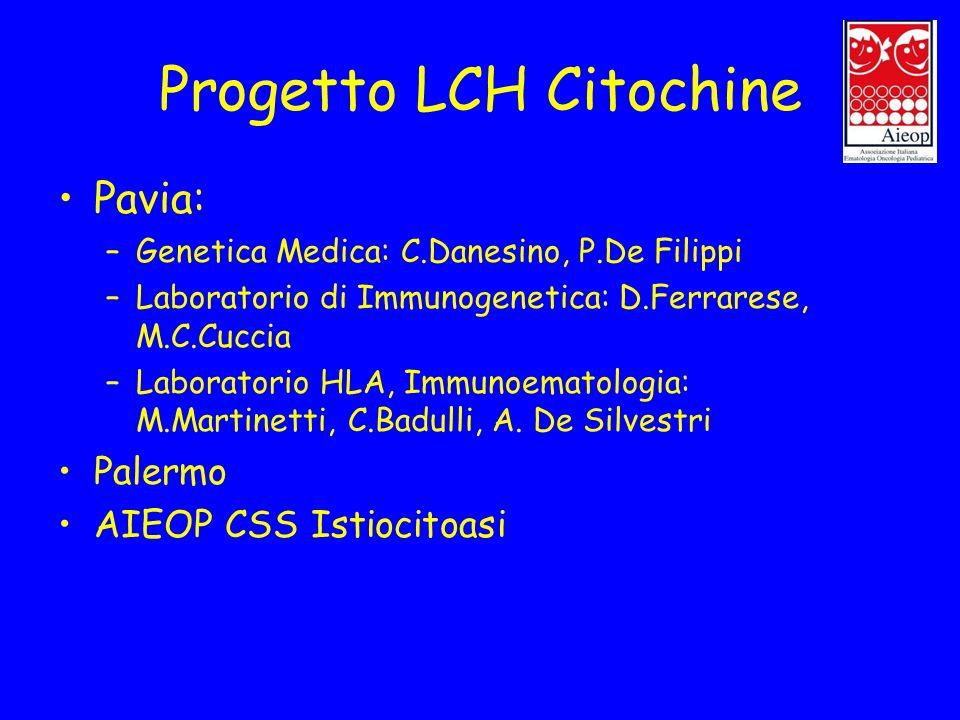 Progetto LCH Citochine Pavia: –Genetica Medica: C.Danesino, P.De Filippi –Laboratorio di Immunogenetica: D.Ferrarese, M.C.Cuccia –Laboratorio HLA, Imm