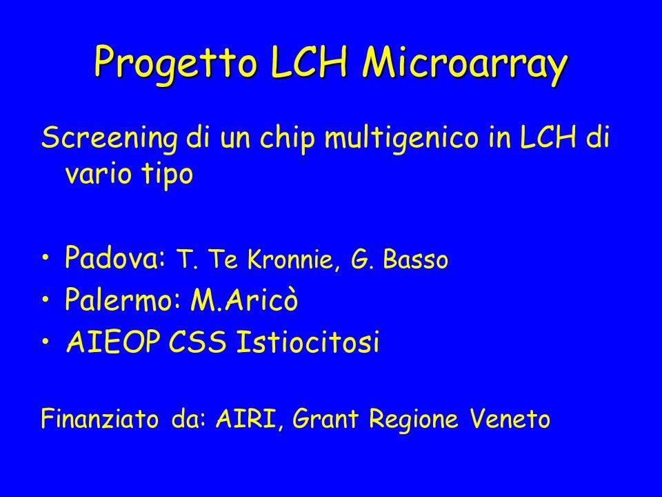 Progetto LCH Microarray Screening di un chip multigenico in LCH di vario tipo Padova: T. Te Kronnie, G. Basso Palermo: M.Aricò AIEOP CSS Istiocitosi F