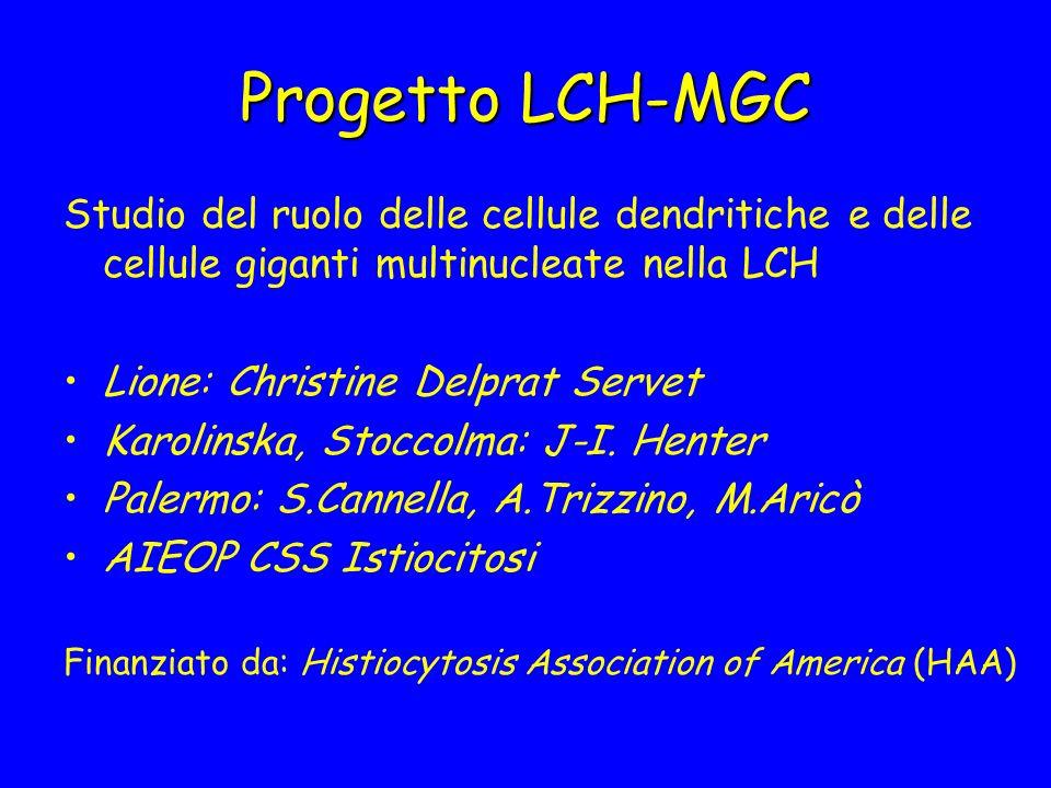 Progetto LCH-MGC Studio del ruolo delle cellule dendritiche e delle cellule giganti multinucleate nella LCH Lione: Christine Delprat Servet Karolinska