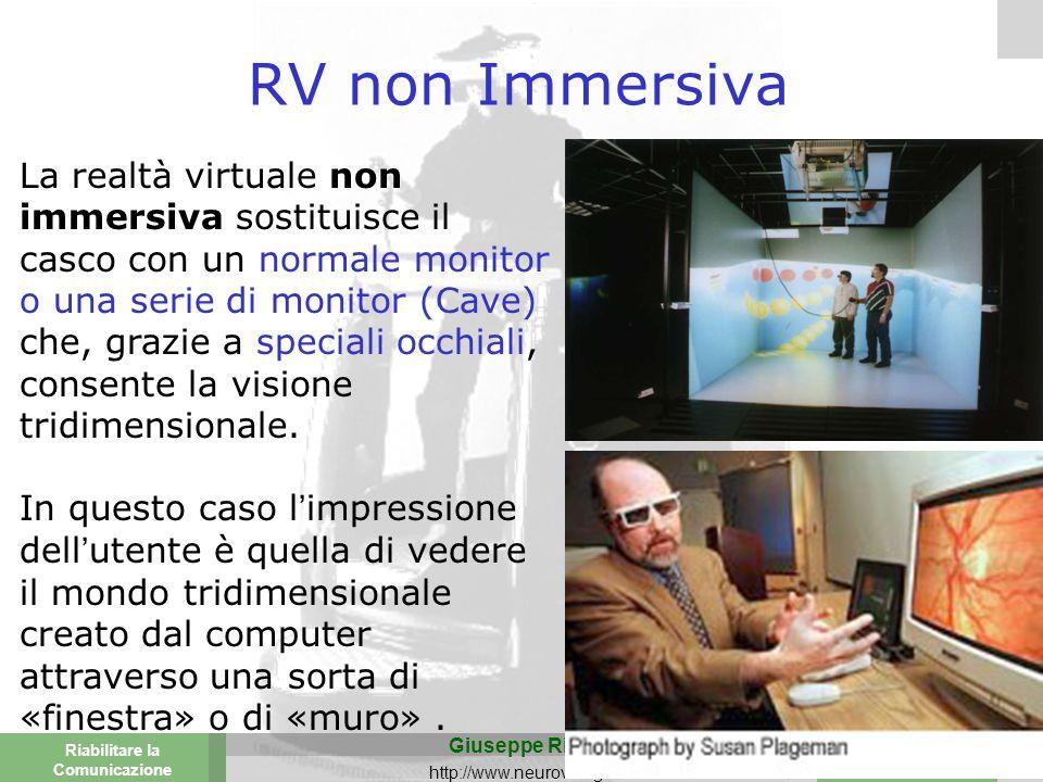 Valencia 25-26 March 2003 Torino 29 Novembre 2013 Riabilitare la Comunicazione Giuseppe Riva http://www.neurovr.org 10 RV non Immersiva La realtà virtuale non immersiva sostituisce il casco con un normale monitor o una serie di monitor (Cave) che, grazie a speciali occhiali, consente la visione tridimensionale.