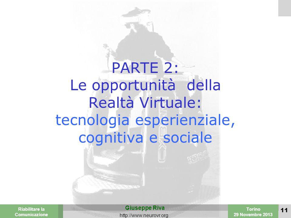 Valencia 25-26 March 2003 Torino 29 Novembre 2013 Riabilitare la Comunicazione Giuseppe Riva http://www.neurovr.org 11 PARTE 2: Le opportunità della Realtà Virtuale: tecnologia esperienziale, cognitiva e sociale