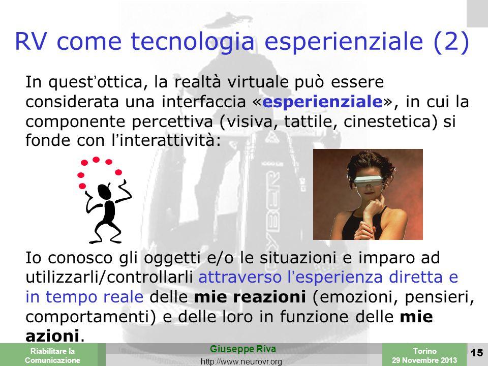 Valencia 25-26 March 2003 Torino 29 Novembre 2013 Riabilitare la Comunicazione Giuseppe Riva http://www.neurovr.org 15 RV come tecnologia esperienziale (2) In quest'ottica, la realtà virtuale può essere considerata una interfaccia «esperienziale», in cui la componente percettiva (visiva, tattile, cinestetica) si fonde con l'interattività: Io conosco gli oggetti e/o le situazioni e imparo ad utilizzarli/controllarli attraverso l'esperienza diretta e in tempo reale delle mie reazioni (emozioni, pensieri, comportamenti) e delle loro in funzione delle mie azioni.