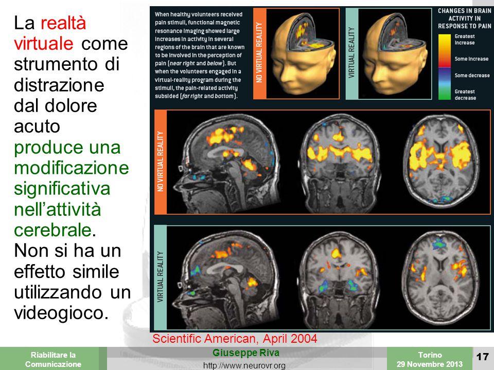 Valencia 25-26 March 2003 Torino 29 Novembre 2013 Riabilitare la Comunicazione Giuseppe Riva http://www.neurovr.org 17 La realtà virtuale come strumento di distrazione dal dolore acuto produce una modificazione significativa nell'attività cerebrale.