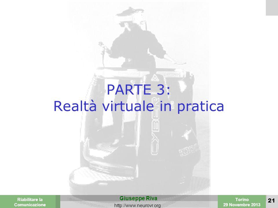 Valencia 25-26 March 2003 Torino 29 Novembre 2013 Riabilitare la Comunicazione Giuseppe Riva http://www.neurovr.org 21 PARTE 3: Realtà virtuale in pratica