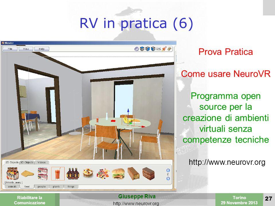 Valencia 25-26 March 2003 Torino 29 Novembre 2013 Riabilitare la Comunicazione Giuseppe Riva http://www.neurovr.org 27 RV in pratica (6) Prova Pratica Come usare NeuroVR Programma open source per la creazione di ambienti virtuali senza competenze tecniche http://www.neurovr.org