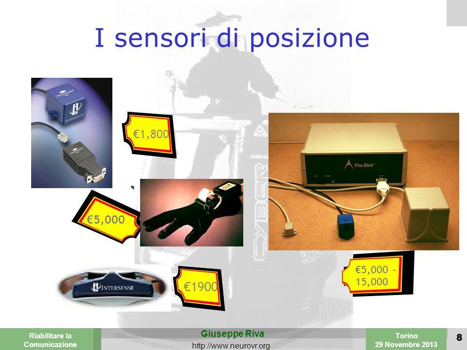 Valencia 25-26 March 2003 Torino 29 Novembre 2013 Riabilitare la Comunicazione Giuseppe Riva http://www.neurovr.org 8 I sensori di posizione €1,800 €5,000 €1900 €5,000 - 15,000