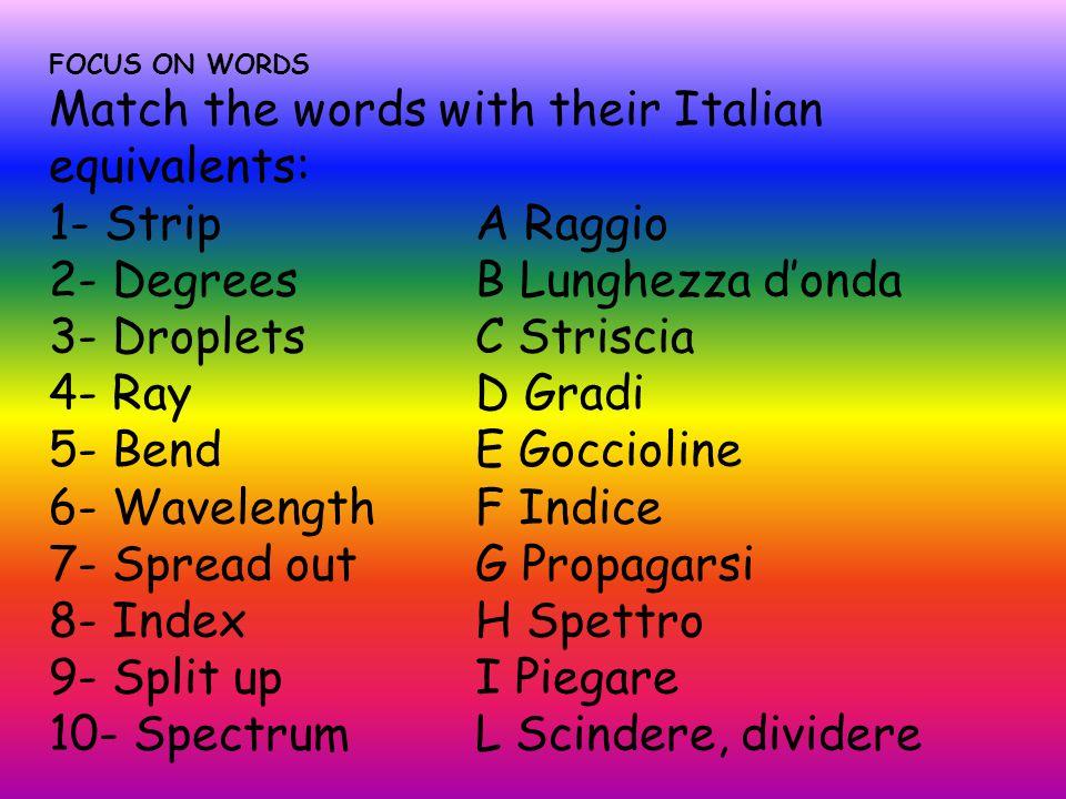 FOCUS ON WORDS Match the words with their Italian equivalents: 1- Strip A Raggio 2- Degrees B Lunghezza d'onda 3- Droplets C Striscia 4- Ray D Gradi 5- Bend E Goccioline 6- Wavelength F Indice 7- Spread out G Propagarsi 8- Index H Spettro 9- Split up I Piegare 10- Spectrum L Scindere, dividere