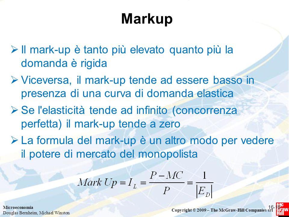 Microeconomia Douglas Bernheim, Michael Winston Copyright © 2009 – The McGraw-Hill Companies srl Markup  Il mark-up è tanto più elevato quanto più la domanda è rigida  Viceversa, il mark-up tende ad essere basso in presenza di una curva di domanda elastica  Se l elasticità tende ad infinito (concorrenza perfetta) il mark-up tende a zero  La formula del mark-up è un altro modo per vedere il potere di mercato del monopolista 16-18