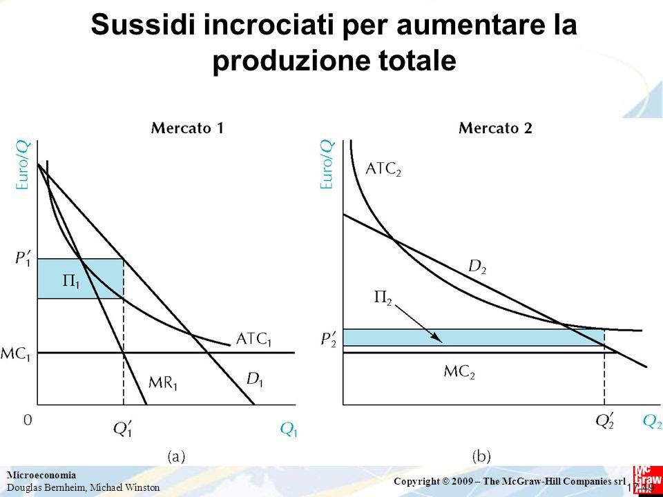 Microeconomia Douglas Bernheim, Michael Winston Copyright © 2009 – The McGraw-Hill Companies srl Sussidi incrociati per aumentare la produzione totale 17-49
