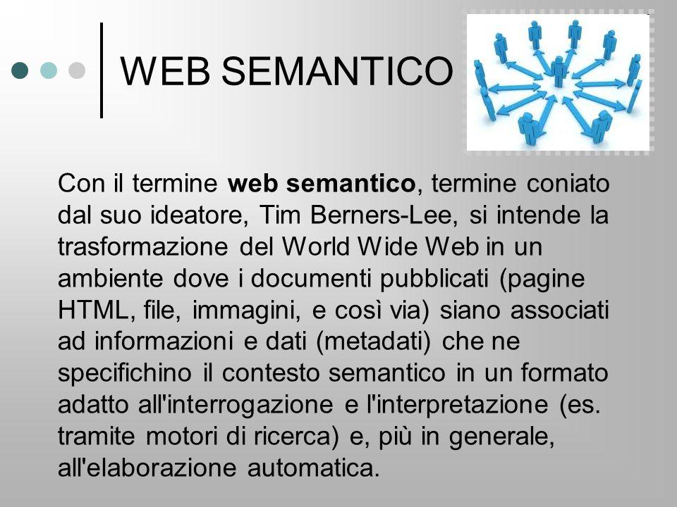 WEB SEMANTICO Con il termine web semantico, termine coniato dal suo ideatore, Tim Berners-Lee, si intende la trasformazione del World Wide Web in un ambiente dove i documenti pubblicati (pagine HTML, file, immagini, e così via) siano associati ad informazioni e dati (metadati) che ne specifichino il contesto semantico in un formato adatto all interrogazione e l interpretazione (es.