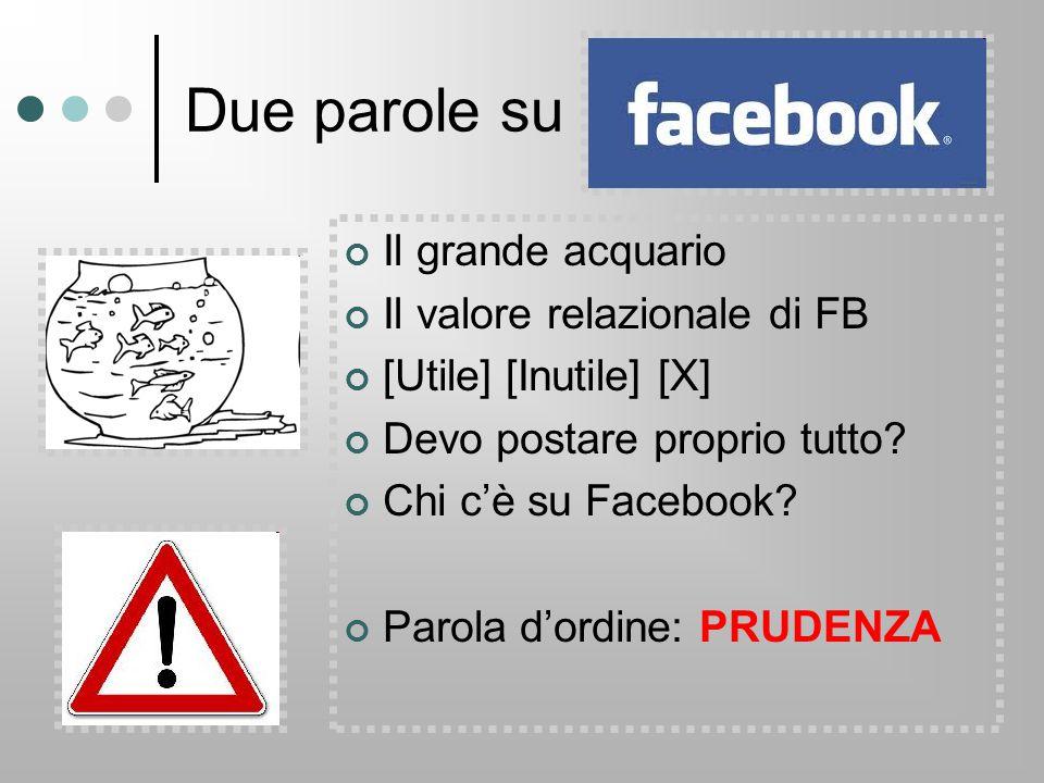 Due parole su Il grande acquario Il valore relazionale di FB [Utile] [Inutile] [X] Devo postare proprio tutto? Chi c'è su Facebook? Parola d'ordine: P