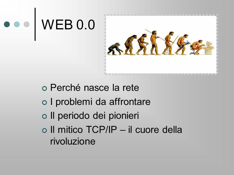 WEB 0.0 Perché nasce la rete I problemi da affrontare Il periodo dei pionieri Il mitico TCP/IP – il cuore della rivoluzione