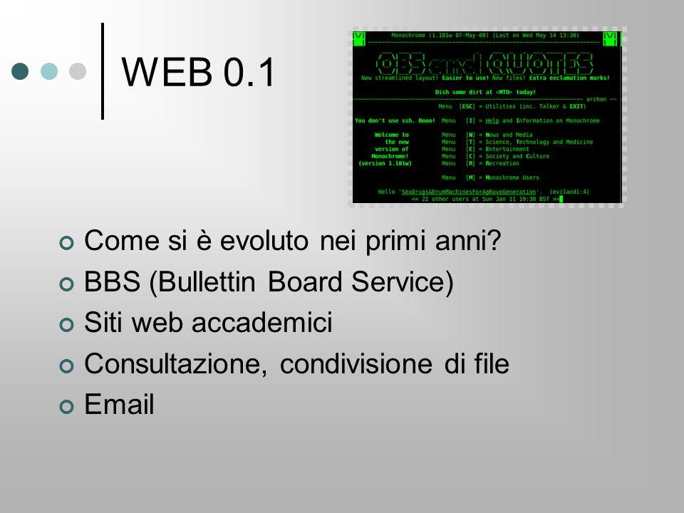 WEB 0.1 Come si è evoluto nei primi anni? BBS (Bullettin Board Service) Siti web accademici Consultazione, condivisione di file Email