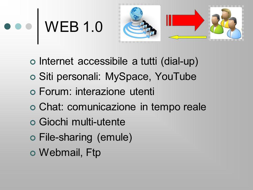 WEB 1.0 Internet accessibile a tutti (dial-up) Siti personali: MySpace, YouTube Forum: interazione utenti Chat: comunicazione in tempo reale Giochi multi-utente File-sharing (emule) Webmail, Ftp