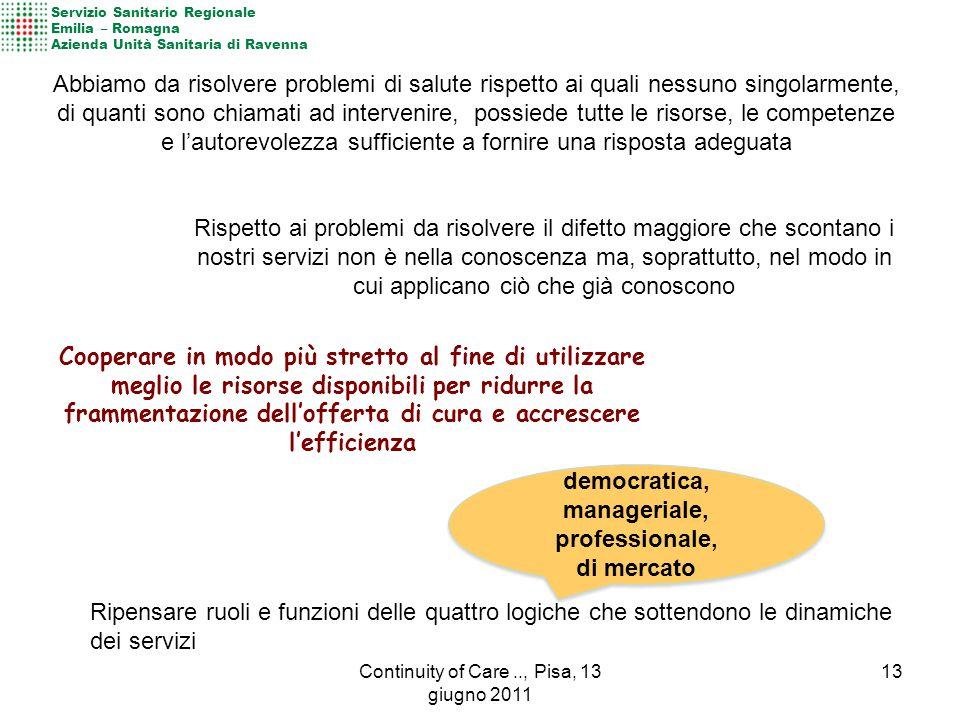 Ripensare ruoli e funzioni delle quattro logiche che sottendono le dinamiche dei servizi democratica, manageriale, professionale, di mercato democrati