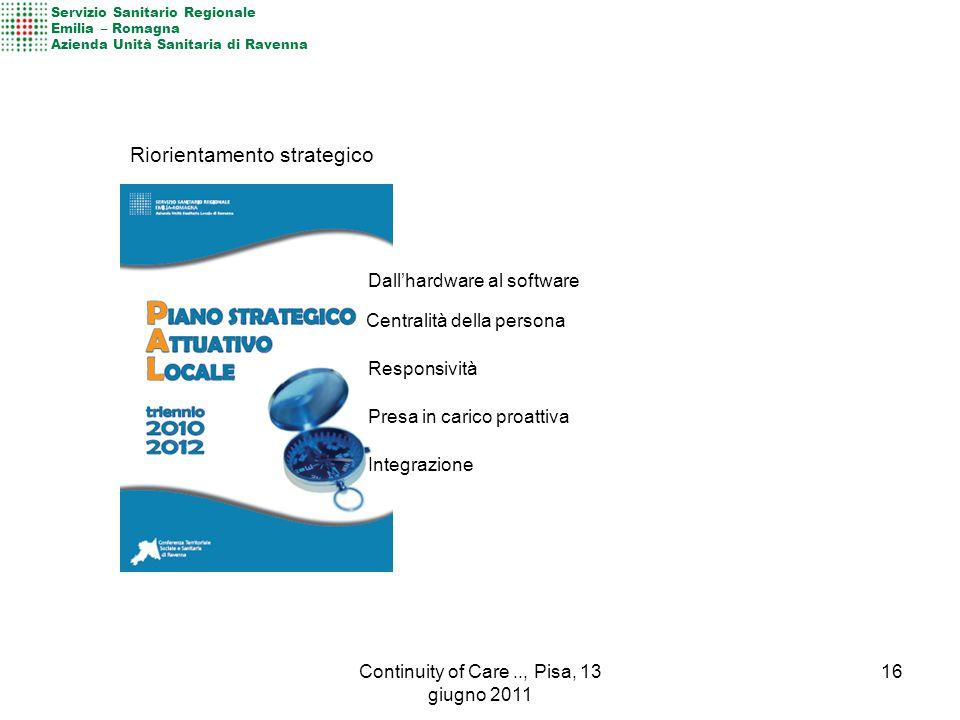 Riorientamento strategico Centralità della persona Responsività Presa in carico proattiva Integrazione Dall'hardware al software Servizio Sanitario Regionale Emilia – Romagna Azienda Unità Sanitaria di Ravenna 16Continuity of Care.., Pisa, 13 giugno 2011